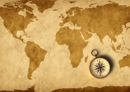 Photo pour Old map and compass - 3D generated - image libre de droit