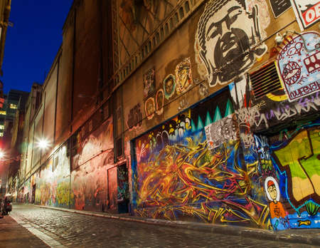 A city alley in Melbourne with prominent street art