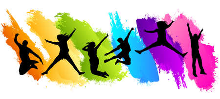 People jumping on color background