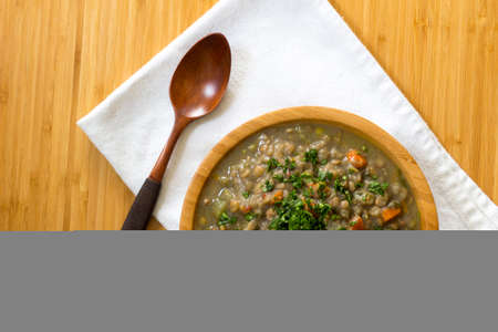 Lentils with vegetables, Carrot, celery, onion, peas, garlic, spinach, red pepper,
