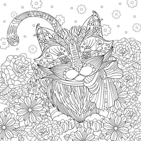 Illustration for Coloring page kitten with bow in flowers field. Spring vector illustration with cute fluffy cat. Outline hand drawn art with doodle and patterns for coloring book for adult. - Royalty Free Image