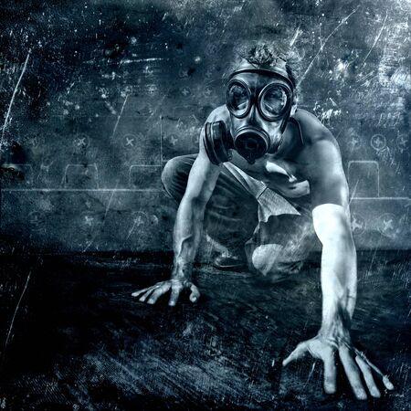 crawling man with gasmask