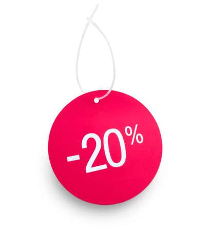 Foto de Discount tag. 20% off against white background.   on tag and hanger tape - Imagen libre de derechos
