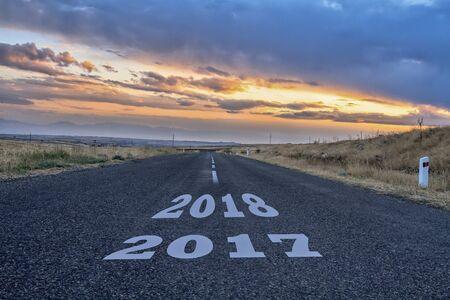 Photo pour Asphalt road with a year date in it. - image libre de droit