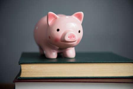 Photo pour piggy bank on book on table - image libre de droit