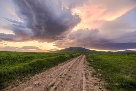 Photo pour road in landscape at the sunset background - image libre de droit