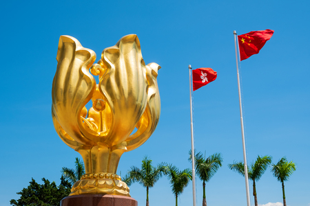 Photo for Hongkong sculpture of Bauhinia - Royalty Free Image