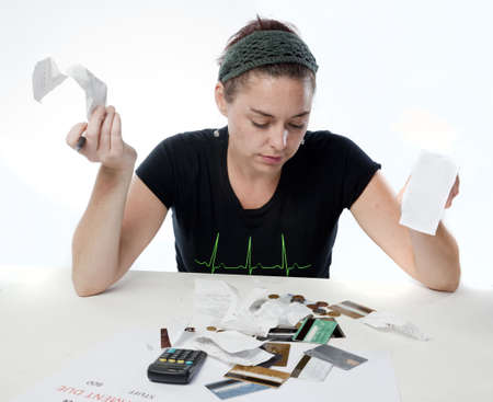 Frustrated woman looking frustrated about her finances