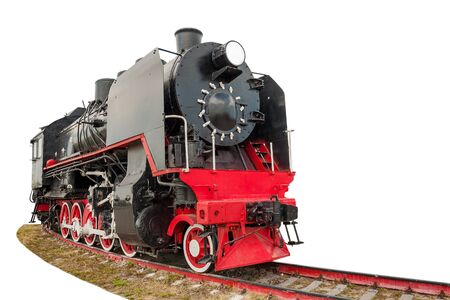 vintage steam train on the rails close-up isolated on white background, retro vehicle, steam engine, front view