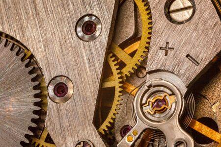 Photo pour vintage old mechanism with gears and springs, clock mechanism close-up macro - image libre de droit