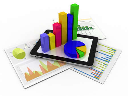 Tablet showing a spreadsheet and a paper with statistic charts, surrounded by some 3d charts