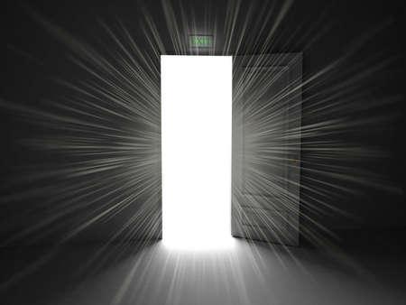 Door  open on black background, 3D images