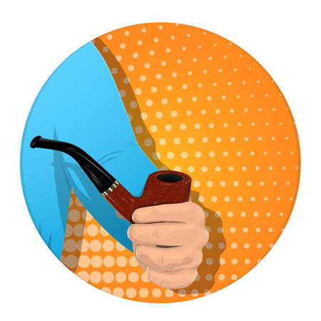 Illustration pour A man s hand holds a smoking pipe. On an orange background. Banner for business. Vector illustration. - image libre de droit