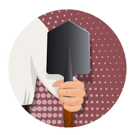 Illustration pour A man s hand is holding a sapper shovel. A tool for excavating earth. On an abstract background. Advertising for business. Vector illustration. - image libre de droit