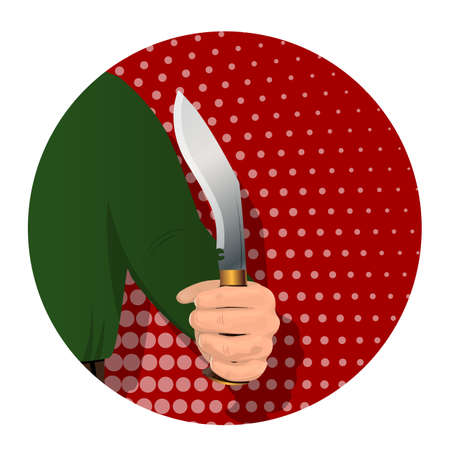 Illustration pour A man s hand holds a hunting knife for cutting game. On an abstract background. Advertising for business. Vector illustration. - image libre de droit