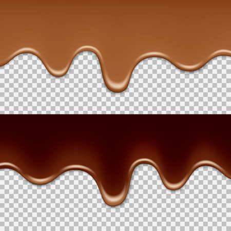 Illustration pour Melted milk and dark chocolate flowing on a transparent background. Frame for banner and text. Isolated vector illustration. - image libre de droit