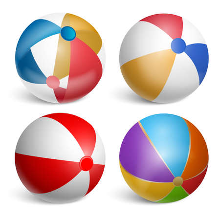 Illustration pour Set of inflatable beach balls.Realistic illustration Isolated on white background. Vector illustration. - image libre de droit