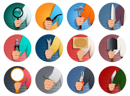 Illustration pour A set of icons for different professions, a person s hand holds a diverse professional tool. To advertise a different business. Realistic illustration. Vector. - image libre de droit