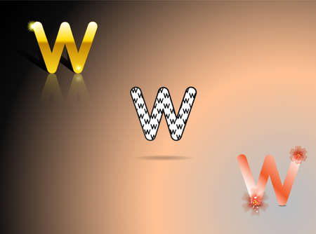 Letter W in gold, black and white, orange colors
