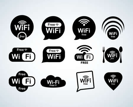 Illustration pour Free wifi logo set. Free wifi signs set. Wifi symbols. Wireless Network icons. Wifi zone. Modern UI website navigation. Isolated Vector illustrations - image libre de droit