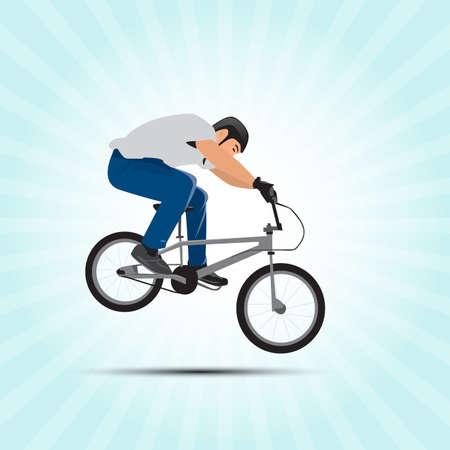 Bmx cyclist vector illustration. Bmx sport art. Bmx jump.