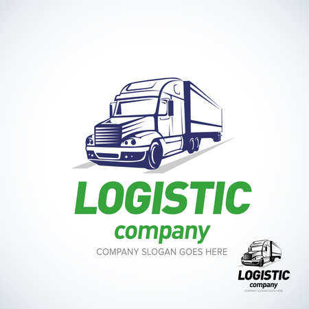 Foto de Truck logo template. Logistic truck logo. Isolated vector illustration. - Imagen libre de derechos