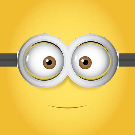 Illustration pour Cartoon Vector illustration of goggle with two eye on yellow color background - image libre de droit