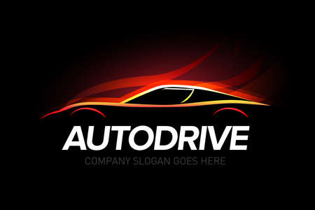 Illustration for 'Autodrive' car repair and repair set. Car logo. Isolated auto theme logo. - Royalty Free Image