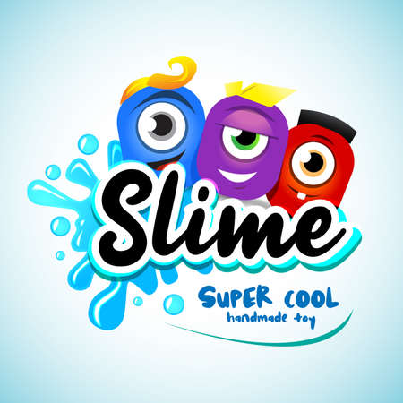 Illustration pour Cartton Slime logo. Cartoon monster slime characters with letters, splashes and smudges. Drops slime isolated on white background. - image libre de droit