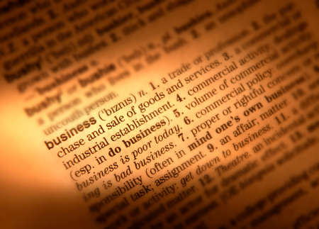 Photo for Close up of dictionary page showing definition of the word business - Royalty Free Image