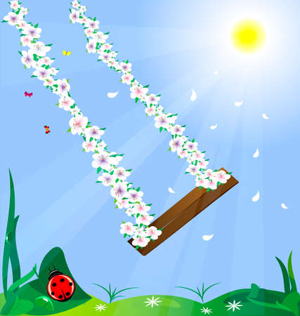 in the sun and blue sky swing woven from flowers