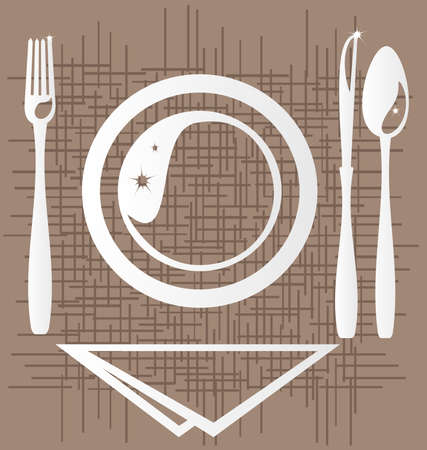 on an abstract background of a stylized outline of a dining unit: a plate, fork, knife, spoon and napkin