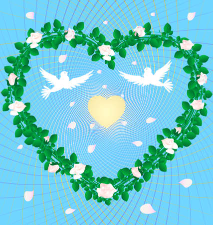 on an abstract blue background heart, woven from the roses in the center of two white doves and a golden heart