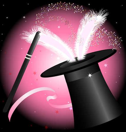 Pink and Black Magic Hat
