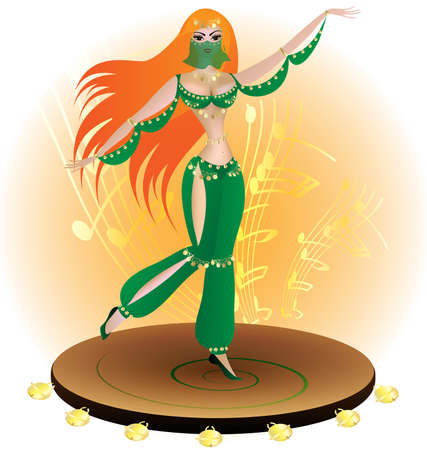 on a large tambourine dance red-haired oriental dancer in the green dress
