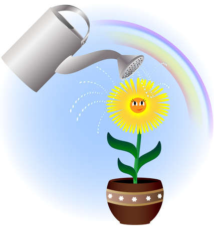 against the background of the rainbow yellow flower shaded red umbrella on a large watering can with water