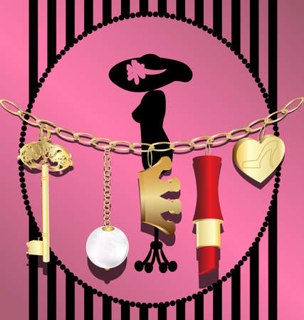 on an abstract background of a gold chain with pendants: a key, crown, a pearl, heart, and lipstick