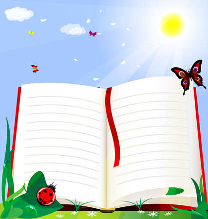 against the background of the solar green grass is a large open book