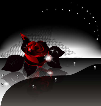 on an black background is a large dark rose with drops and black veil