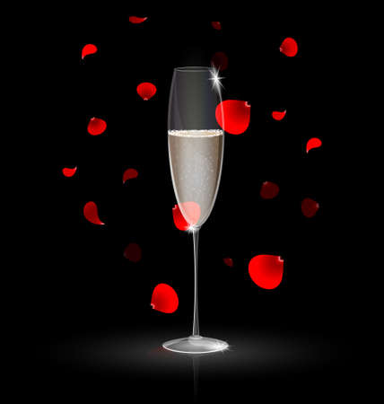 champagne and red petals