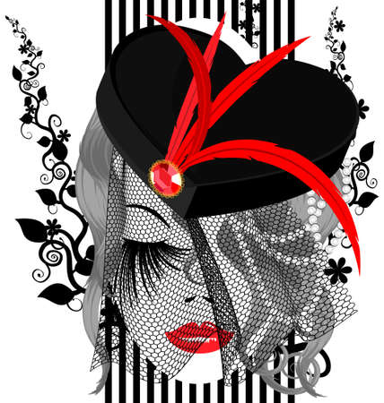 Illustration pour on a white background is outlines abstract woman s face with black hat with red feathers and veil - image libre de droit