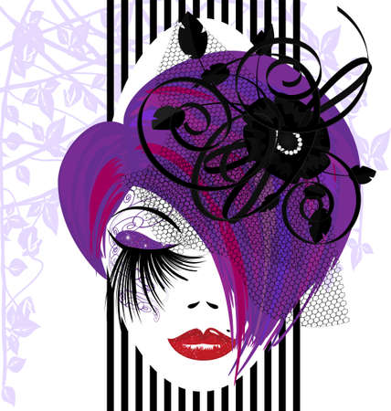 on a white background is outlines woman s face with purple hair and black ribbons