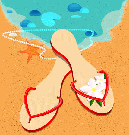 on a beach is lady s red sandshoes