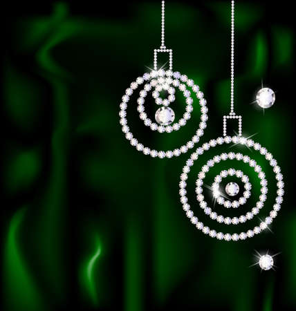 on a dark green silk are two abstract jewelry Christmas balls