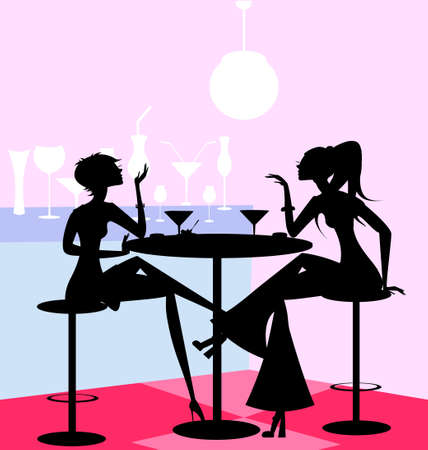 in a abstract cafe are two girl friends