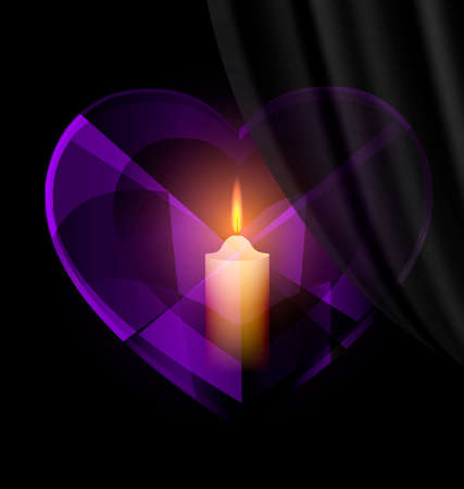 dark background and dark purple heart-crystal with candle inside