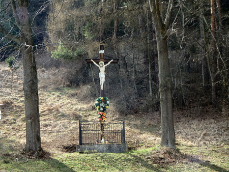 wooden cross in nature,