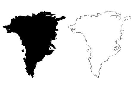 Greenland map vector illustration, scribble sketch Greenland