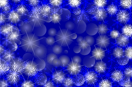 Snowflakes and stars - winter vector pattern - blue background