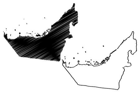 United Arab Emirates map vector illustration, scribble sketch UAE